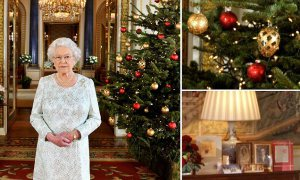 Embargoed to 0001 Monday December 24 Britain's Queen Elizabeth II delivers her Christmas speech in the 1844 Room at Buckingham Palace, London, marking the 50th anniversary of her first televised Noel message.
